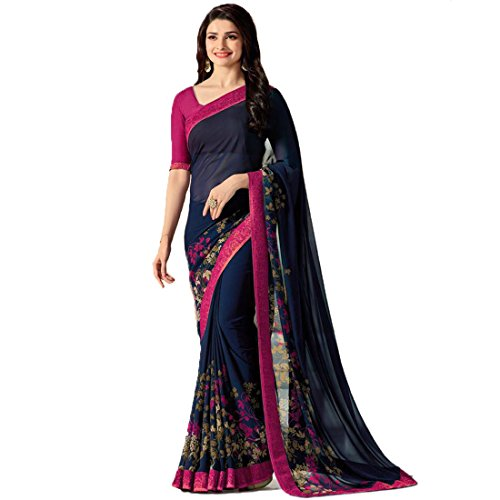 TAGLINE Georgette Saree With Blouse Piece (TAG51202_Pink_Free Size)