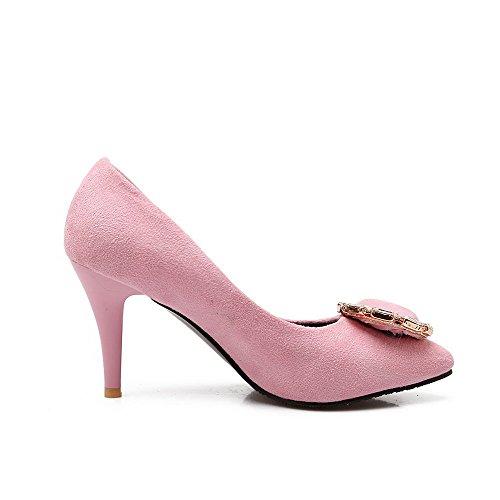 ... AgooLar Damen Ziehen Auf Spitz Zehe Hoher Absatz Mattglasbirne Rein  Pumps Schuhe Pink ...