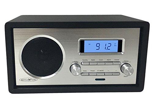 Reflexion HRA1250 Retro-Radio mit UKW Tuner, LCD-Display und Weckfunktion (Teleskop-Antenne, AUX, Kopfhörer-Anschluss), schwarz / silber