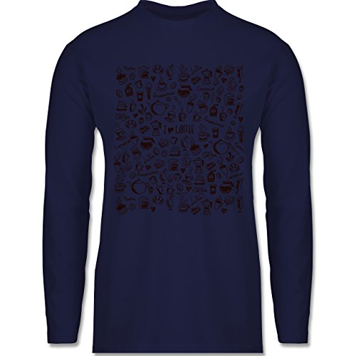 Shirtracer Statement Shirts - Kaffee Scribble - Herren Langarmshirt Navy Blau