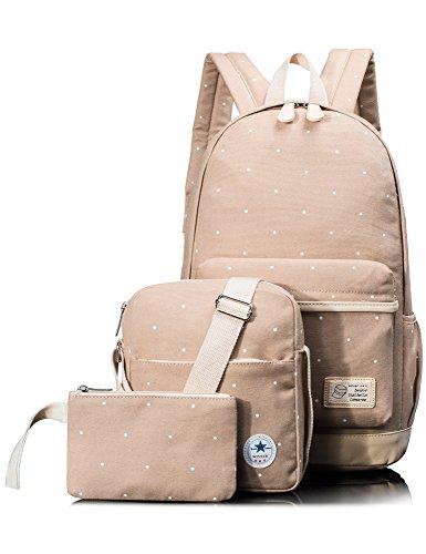 Leaper Girls Canvas Backpack Cute School Laptop Travel Backpack Shoulder Hand Bag Purse for Boys 3PCS Khaki