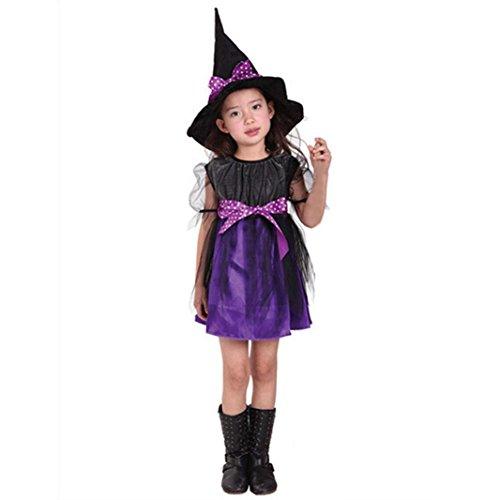 Kinder Baby Mädchen Halloween Kleider Kostüm Kleid Partei Kleider + Hut Outfit 2-15Jahre (140, Lila) ()