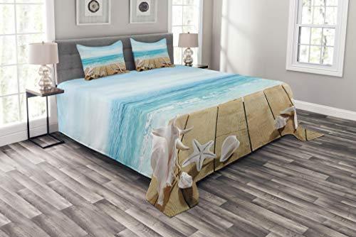 ABAKUHAUS Muscheln Tagesdecke Set, Sonnenschein Malediven Deck, Set mit Kissenbezügen Romantischer Stil, für Doppelbetten 264 x 220 cm, Sand BrownPale braunes beige (Deck Betten)