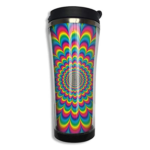 Stainless Steel Coffee Mugs Psychedelic Travel Coffee Thermal Mug 14.8 Oz (420ml) Insulated Cup Perfect for Travel, Camping, Hiking, The Beach and Sports -
