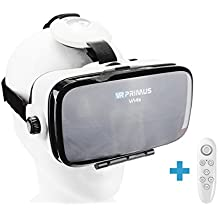 Gafas VR VR-PRIMUS VA4s + mando| Para smartphone 's p.ej. iPhone,Samsung Galaxy,HTC,Sony,LG,Huawei | Ajustable,Google Cardboard QR,Botón de control | VR box,glasses,móvil,controlador | blanco