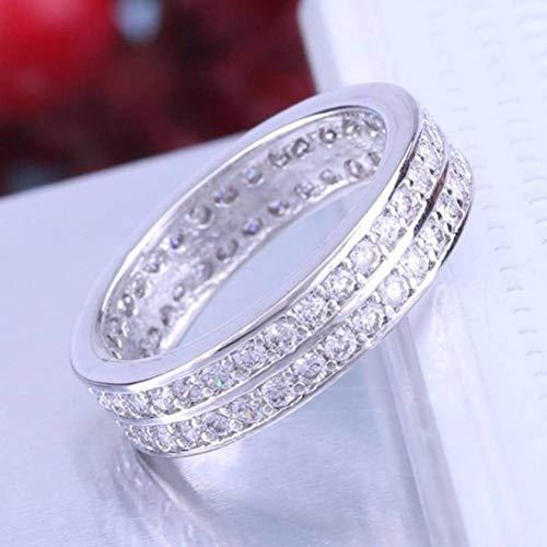 Chuan Han Zwei Kreise aus Weiß Vergoldetem, Weissen Bleimode Vielseitigen Ring, Zirkon, Weiblich, Flacher Ring, Krallen-Set, Rund, Lässig, Diamant, Weiß Platin, US 7