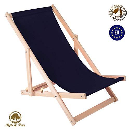 Chaise Longue de Jardin Pliante liège - Chaise Longue Relax pour Jardin Balcon Chaise Longue de Jardin (Bleu Marine)