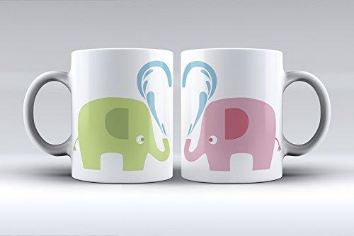 Pack 2 tazas ilustración elefantes decorada desayuno regalo original pareja