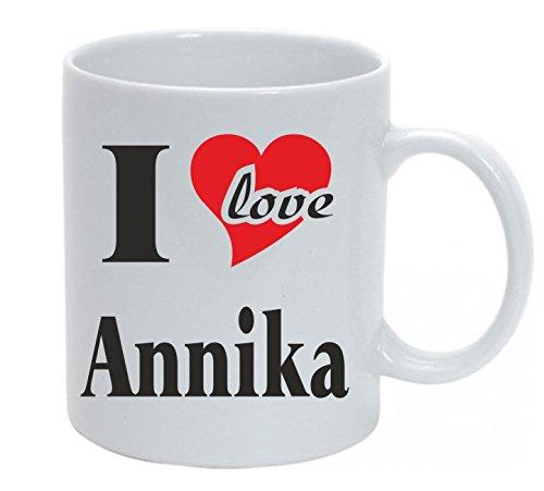 Tasse bedruckt mit I Love Annika Kaffeetasse mit Wunschtext oder Name