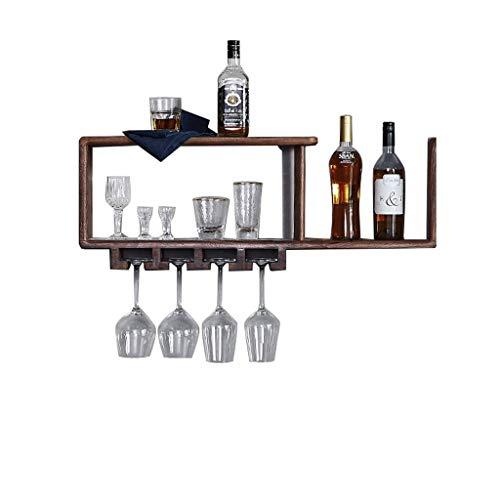 GYUEF Weinflaschenregal Weinregal, Flasche/Tasse/Rot Wandregal Rahmen Massivholz Doppel Lagerung Regal Geeignet Für Home Restaurant Bar Wohnzimmer Champagner (größe : 90 * 15 * 28cm) -