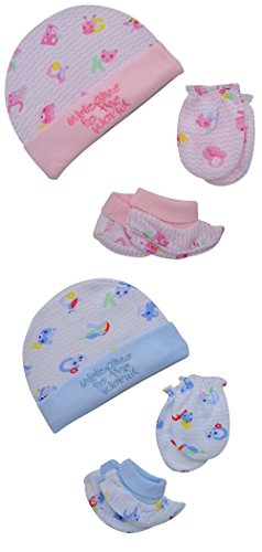 "Baby Bucket ""WELCOME TO THE WORLD"" Premium Quality Light Weight Regular Fit Hosiery Material Stretchable Baby Cap (Blue & Pink)"