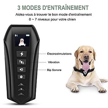 Collier de Dressage pour Chien Rechargeable - Collier Anti Aboiement pour chien 5-70KG Inoffensif & Positif - 7 Niveaux Intensité&Sensibilité en Stimulation électrostatique|Vibration|Son Jusqu'à 730M