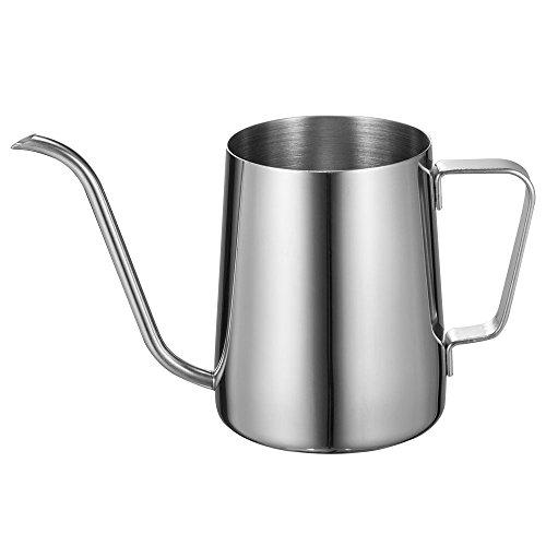Kaffeekanne mit Schwanenhals und langem schmalen Ausguss, Edelstahl 350ML silber