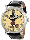 Disney Men's 56109 'Vintage Mickey Mouse' Watch with Black Leather Band