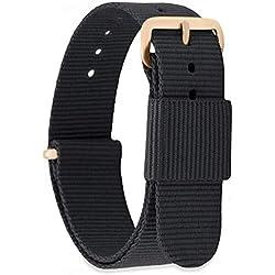 MOMENTO Bracelet de Montre pour Homme et Femme NATO Nylon Tissu avec Boucle en Acier Inoxydable en Or Rose et Tissu en Noir 18mm