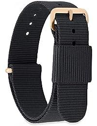 MOMENTO Cinturino Nato per Orologio Uomo Donna con Fibbia in Acciaio Inossidabile in Oro Rosa e Tessuto Nylon in Nero 18mm