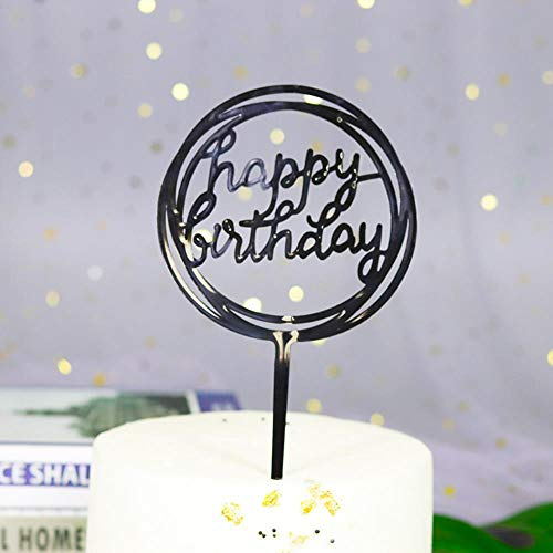 HPPL Kuchen einfügen Kunststoff Backen Dekoration Party Dessert Tisch verkleiden Sich Alles Gute zum Geburtstag Karte einfügen Kuchen dekorieren Plugin, rund-schwarz (Schwarze Geburtstags-dekorationen Rosa Heiße Und)