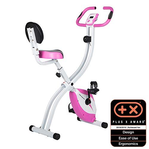 Ultrasport Heimtrainer F-Bike 200B, klappbares Ergometer mit Rückenlehne, Hometrainer mit Handpuls-Sensoren & vielen Funktionen, praktisches Fitnessgerät für Zuhause, pink