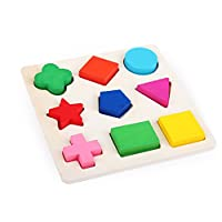 Vi.yo Wooden Shape Sorter Sorting Puzzle 9 Shapes Plate Baby Kids Toy Educational