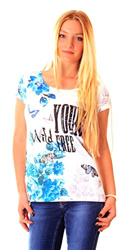Easy Young Fashion Damen Sommer T-Shirt mit Aufdruck One Size Schrift Mod. 8