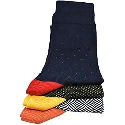RV97 Calcetines para hombre (6 Pares) Cortos, elegantes y de colores, hechos en Italia, 95% algodón 5% elástico