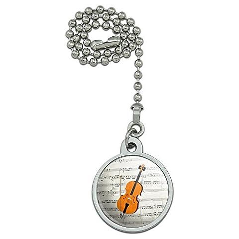 Feuille de violoncelle Notes de musique Clé de Sol ventilateur de plafond et chaîne de Tirette pour luminaire