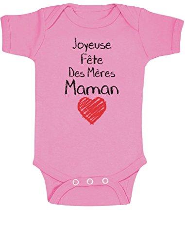 Green Turtle T-Shirts Joyeuse 1er Fête des Mères Maman!! Body Bébé Manche Courte 3-6 Mois Rose