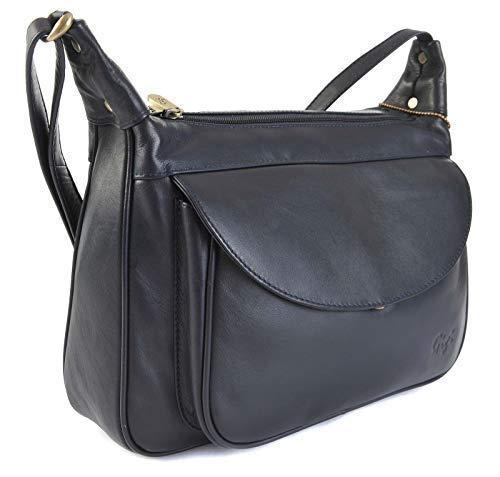 GIGI Othello Leder Schulter Crossbody Handtasche 22-17 Verschiedene Farbkombinationen - Leder, Marineblau, Unisex-Erwachsene, L, L - Farbkombinationen