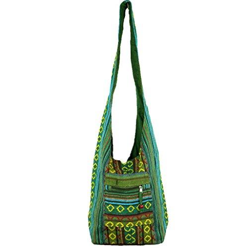 Borsa a tracolla in tela di cotone, stile hippie, con motivo a losanghe, adatta per feste, in 5 colori (verde)