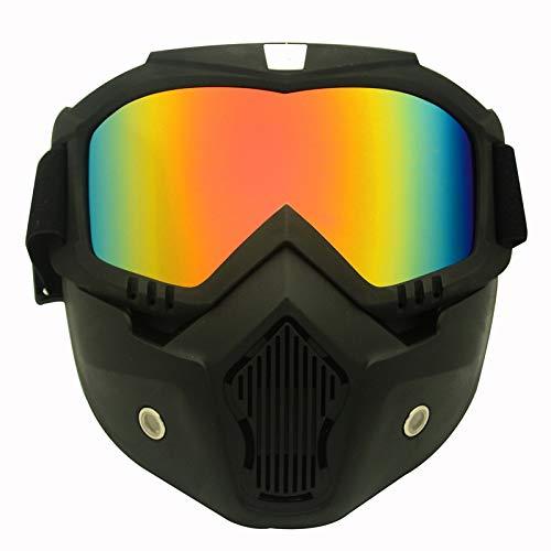 QXTKHW Motorrad Brille Mit Abnehmbarer Gesichtsmaske Harley Stil Helm Nebelfest Winddicht Reiten Sonnenbrille, Orange