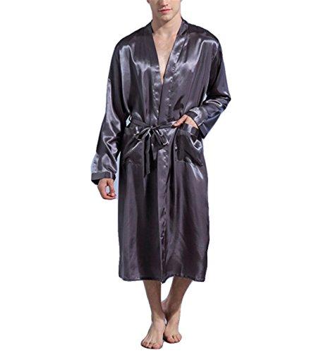 Hippolo Lange Robe Emulation Seide Soft Home Bademantel Nachthemd für Männer Kimono Roben (XL, Grau)