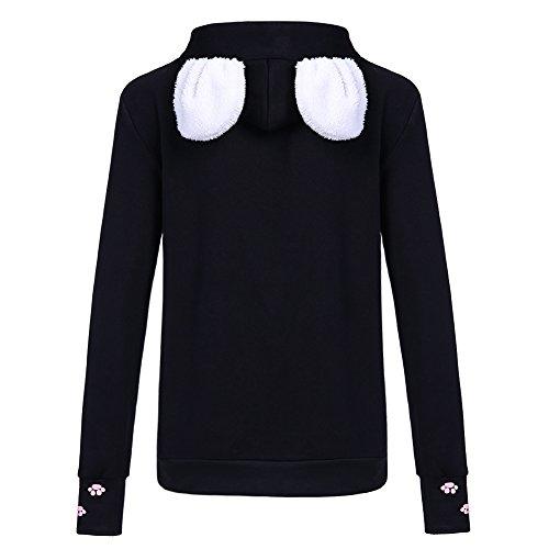 Wangyue Frauen Niedliche Känguru Tasche Hoodie Langarm Pullover Sweatshirt Schwarz01 M - 2