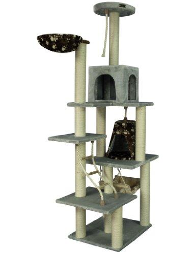 Armarkat Großer Kratzbaum AC7802S ca. 2 Meter hoch mit Katzenhaus, Liegemulde und Katzenleiter