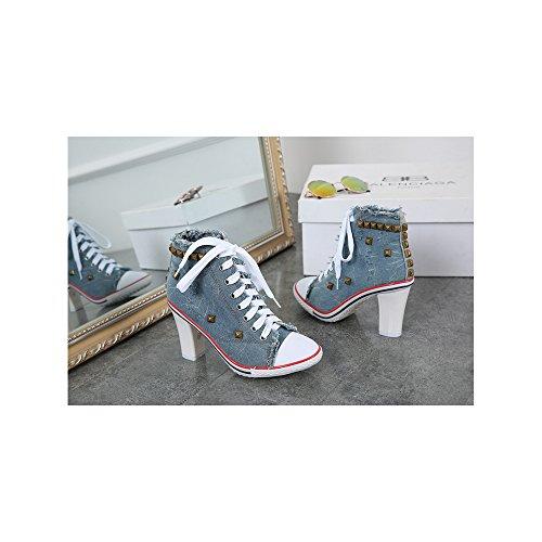 OCHENTA Femme Bottine Basket Talon Bloc Lacets En Toile Sneakers Cheville Bleu