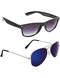 Magjons Fashion Combo Of Black Wayfarer & Silver Blue Mirror Aviator Sunglasses