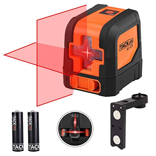 Tacklife SC-L01 Kreuzlinienlaser Selbstnivellierend 15M mit Magnetische Stativ Halterung, 360 Grad Drehbar, IP54 Staub und Spritzwasserschutz inkl. Schutztasche