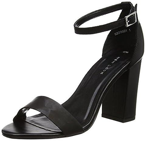 New Look Damen Valuable Peep-Toe Pumps, Schwarz (Schwarz), 40 EU (Schwarz Peep Toe)