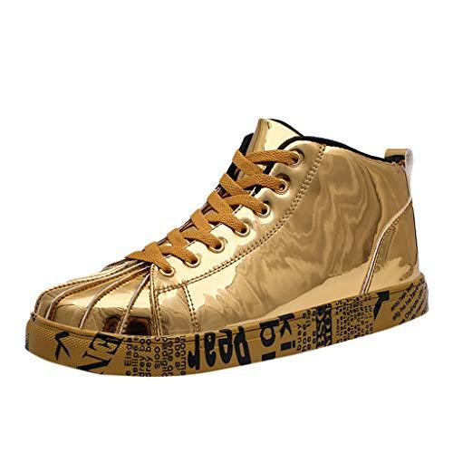 Kaister Herren mode Schuhe Paare High Top lackiert Leder Mode Sneakers Schuhe Unisex Sportschuhe Outdoor Leichtgewichts shoes (- Herren-high-top-schuhe Dc -)