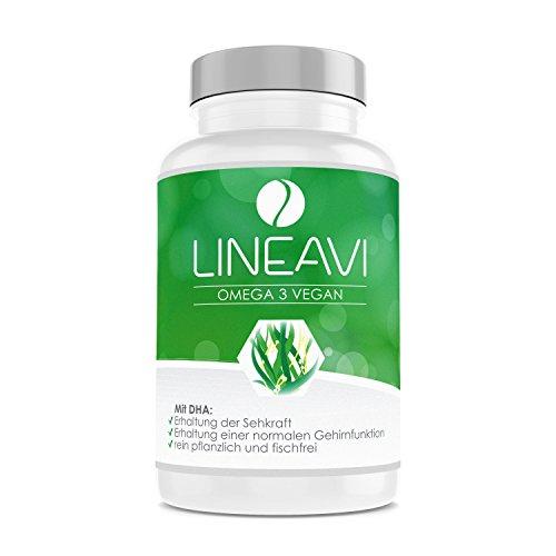 LINEAVI Omega 3 Vegano ácidos Omega 3 Procedentes de Aceite de Algas | la Alternativa Vegetal a los preparados de Aceite de Pescado | Fabricado en Alemania | 60 cápsulas (provisión para 2 Meses)