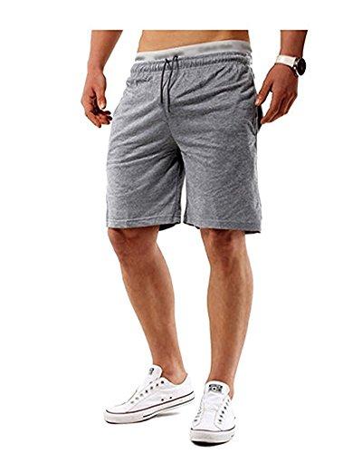 Minetom Sommer Herren Casual Shorts Bermudas Kurze Hose Sporthose Jogginghose Trainingsshorts Freizeithose Fitness Grau EU M (Tan Swim Shorts)