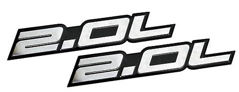 2 x (pair/Set) 2.0L Liter Embossed SILVER on Black Highly Polished Silver Real Aluminum Auto Emblem Badge Nameplate for Ford Edge Escape SEL Escort Explorer Focus SE SES ZX3 ZX4-SE ST SVT Fusion Transit XL XLT Dodge Colt Ram 50 Dart Rallye SE Aero Caliber SE Express Neon ES SXT Avenger Intrepid Plymouth Laser Neon Jeep Patriot Latitude 4WD Compass VVT DOHC Chevrolet Chevy Cobalt HHR SS Tracker LSi Malibu LTZ Sedan coupe 2 3 4 5 2dr 3dr 4dr 5dr door hatchback turbo turbocharged