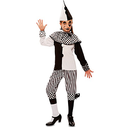 Clown Harlekin Kostüm Kind - EUROCARNAVALES Kinder Kostüm Harlekin Tamina schwarz weiß Clown Pierrot Karneval Fasching (140)