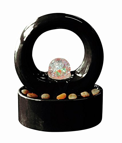 Roselle Indoor Tabletop Lit Water Feature with Spinning Crystal Ball