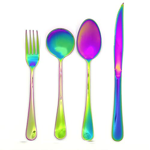 ZUEN 4-teiliges Besteckset aus Stahl, stilvoll, in Regenbogenfarben, Besteckset Steakmesser Besteckgabel Kostüm-Set aus spiegelpoliertem Edelstahl mit Buntem Besteck