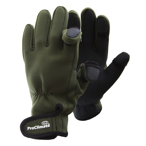 Mens Neoprene Fishing Gloves (Lightweight Waterproof) (M/L) (Green)