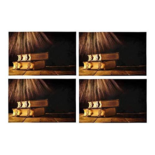 Soefipok Libri gotici medievali di Fantasia con Fermagli in Ottone sul Vecchio Tavolo di Legno tovagliette Lavabili in Tessuto Tappetini Antiscivolo Tappetini Lavabili, Set di 4