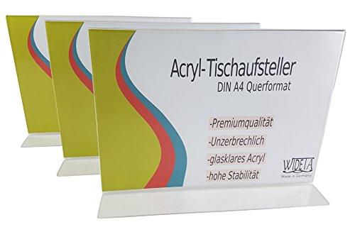 Runde Etagere Rack (WIDETA Acryl-Tischaufsteller für DIN A4 / Werbeaufsteller / T-Ständer / Prospekthalter in T-Form Querformat (3 Stück))