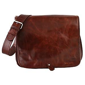 PAUL MARIUS bolso de cuero del mensajero apropiado para A4 tamaño (M) LE MESSAGER BRUN D'AUTOMNE colore marrón castaño
