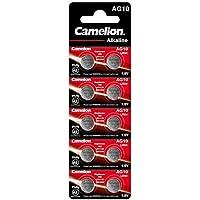 10 Camelion Ag10 / Lr54 / 189/389 / Lr1130 Pack de 10 Piles alcalines, Longue durée (Date d'expiration marquée)