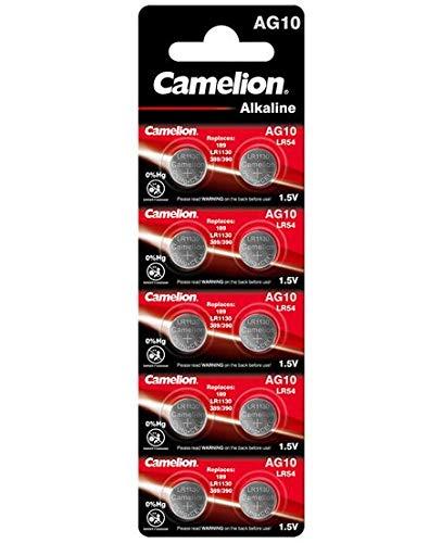 10 Camelion AG10 / LR54 / 189 / 389 / LR1130 Knopfzelle Alkaline Alkali Batterie, 10-er Pack, Lange Haltbarkeit (Haltbarkeitsdatum markiert)